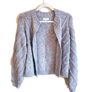 LUCKY BRAND Grey Knit Cardigan w/Open Front XS